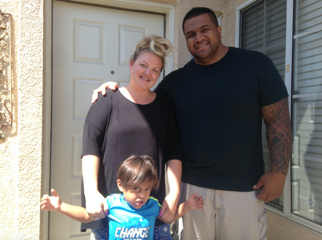 Sikoti Uipi, his wife, Emily, and their young son and daughter (not pictured) left Bellflower and moved to Mentone just outside Redlands in February. They're renting a five-bedroom house for not much more than they paid for an apartment in Bellflower.