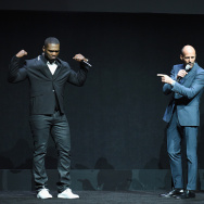 """LAS VEGAS, NV - APRIL 23:  (L-R)  Rapper Curtis """"50 Cent"""" Jackson III, actors Jason Statham, Rose Byrne and Jude Law speak onstage during 20th Century Fox Invites You to a Special Presentation Highlighting Its Future Release Schedule at The Colosseum at Caesars Palace during CinemaCon, the official convention of the National Association of Theatre Owners, on April 23, 2015 in Las Vegas, Nevada.  (Photo by Michael Buckner/Getty Images for CinemaCon)"""