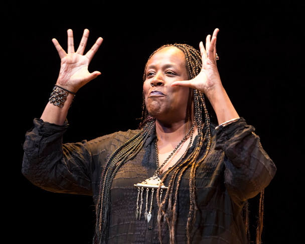 "Playwright and performer Dael Orlandersmith in the world premiere of her play, ""Forever,"" at the Kirk Douglas Theatre."