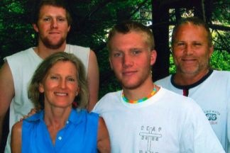 Jan and Linton Weeks with their sons Holt (second from right) and Stone (left) who both were killed in a car crash a year ago.