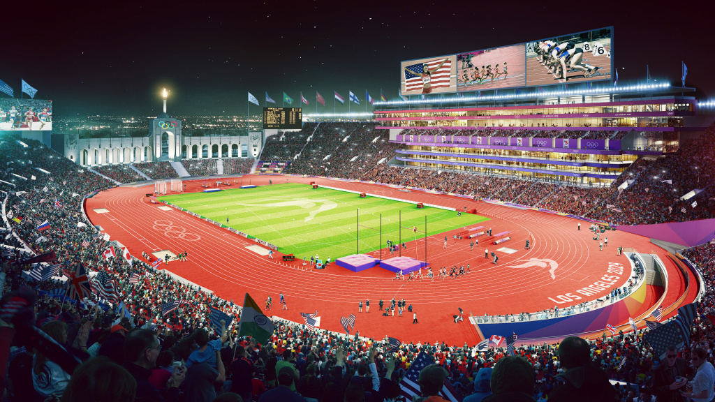 An artist rendering of L.A. track and field venue at the Los Angeles Memorial Coliseum for the 2024 or 2028 Olympics.