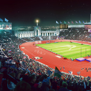 Artist rendering of LA 2024's track and field venue.