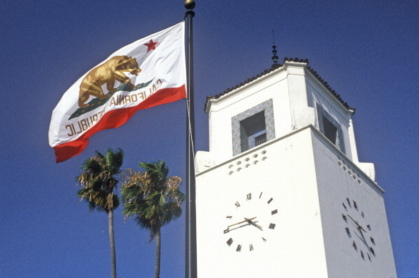 California Republic flag in front of the Union Station Rail Transit in the city of Los Angeles, California