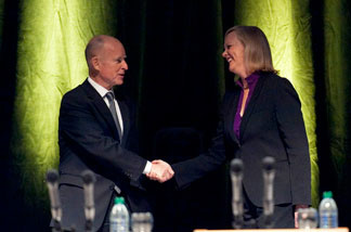 California attorney general and democratic gubernatorial candidate (L) shakes hands with republican gubernatorial candidate and former eBay CEO Meg Whitman before the start of a debate at UC Davis' Mondavi Center on September 28, 2010 in Davis, California.