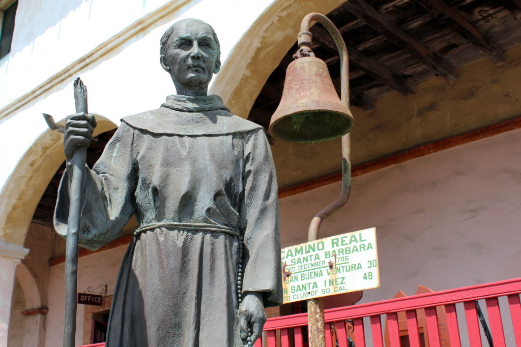 A statue at Old Mission Santa Barbara depicts Franciscan missionary Junípero Serra. On Thursday, January 15, 2014, Pope Francis announced that Serra would be canonized —making him the newest Catholic saint.