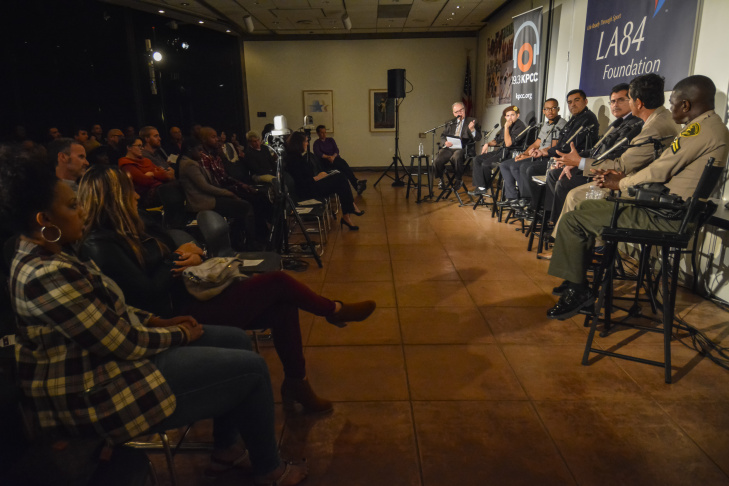 Larry and panel at the LA84 Foundation in West Adams for a conversation on the future of policing in Southern California; January 21, 2015; Photo Credit Bill Youngblood/SCPR;