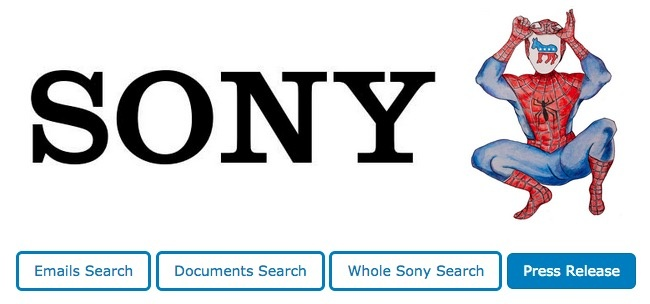 The Sony logo used by WikiLeaks for their searchable Sony hack database shows Spider-Man pulling up his mask to reveal a Democratic Party donkey logo.