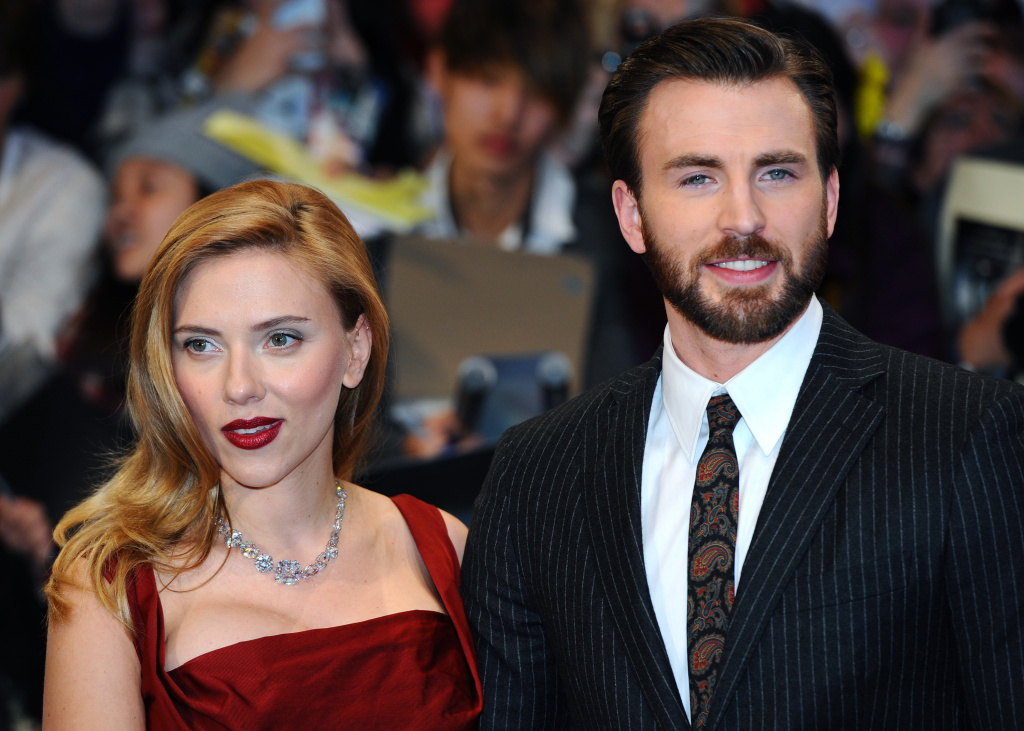 Scarlett Johansson and Chris Evans attend the UK Film Premiere of