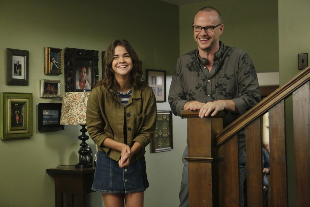 """The Fosters"" cast member Maia Mitchell with director Peter Paige."