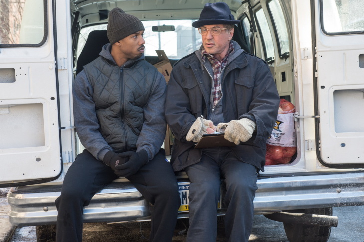 Sylvester Stallone and writer/director Ryan Coogler on the set of