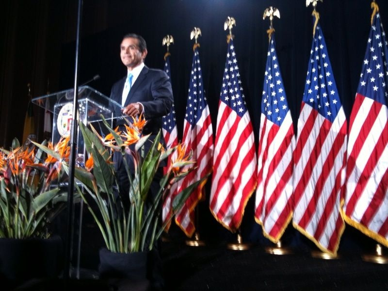 Mayor Antonio Villaraigosa at his State of the City address in the Jefferson High School auditorium in South L.A.