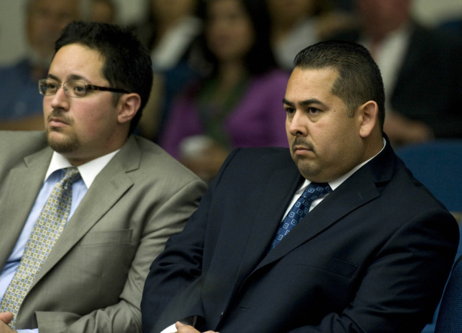 Former Fullerton police officer Manuel Ramos (right) has been charged with second-degree murder and involuntary manslaughter in the beating death of Kelly Thomas.