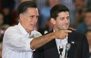 GOP presidential candidate Mitt Romney introduces his vice presidential running mate, Rep. Paul Ryan (R-WI) in Ashland, Virginia, Aug. 11, 2012