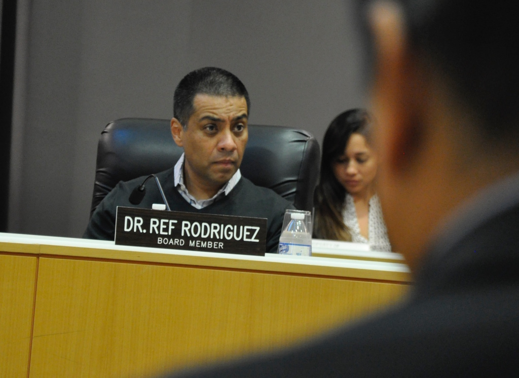 Los Angeles Unified School District board member Ref Rodriguez attends a Committee of the Whole meeting on Tues., Sept. 19, 2017.