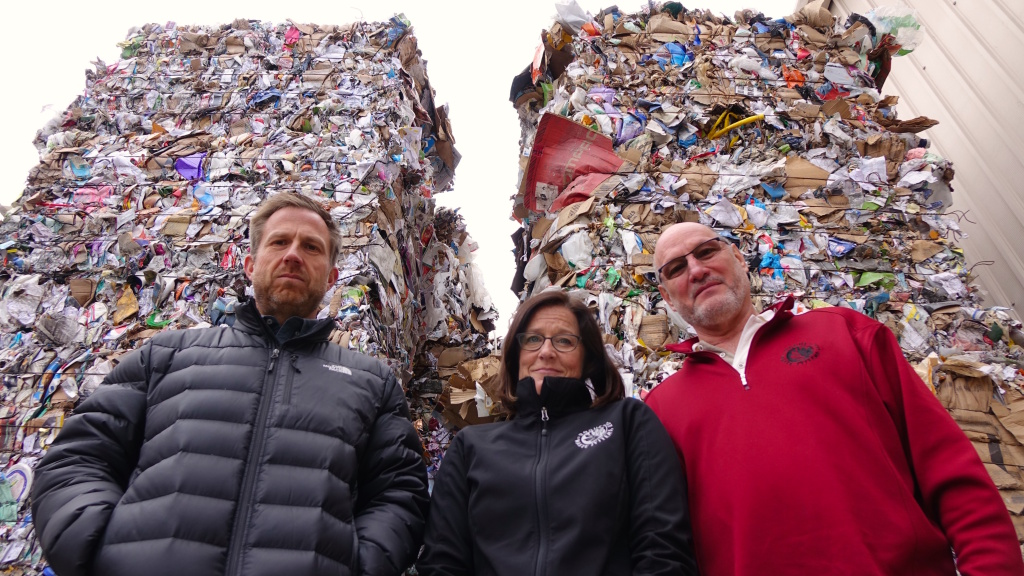 China's ban means recycling is piling up at Rogue Waste System in southern Oregon. Employees Scott Fowler, Laura Leebrick and Garry Penning say their only option for now is to send it to a landfill.
