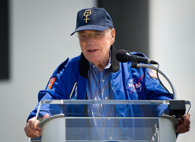 NASA Mercury Astronaut Scott Carpenter speaks during an unveiling ceremony of two USPS stamps that commemorate and celebrate 50 years of US Spaceflight and the MESSENGER program during an event, Wednesday, May 4, 2011 at the NASA Kennedy Space Center in Cape Canaveral, Fla.