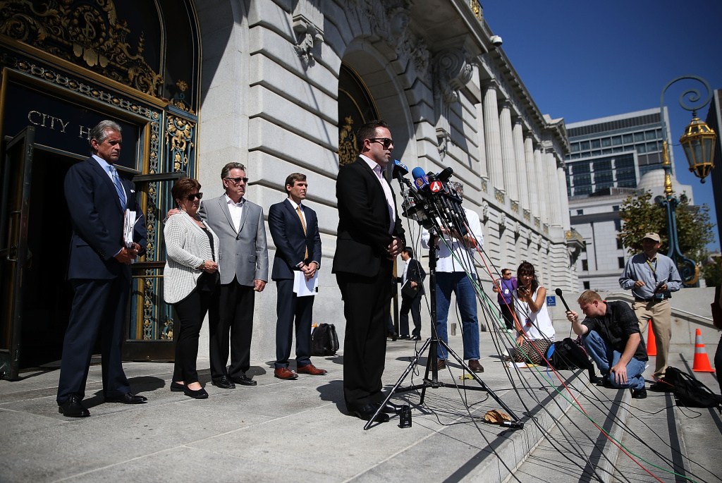 Brad Steinle, brother of Kate Steinle, who was killed by an undocumented immigrant, speaks during a news conference on September 1, 2015 in San Francisco, California.