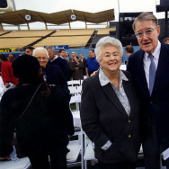 Former City Councilwoman Rosalind Wyman poses with Dodger team owner Peter O'Malley at Dodger Stadium. Photograph dated May 2, 2012.