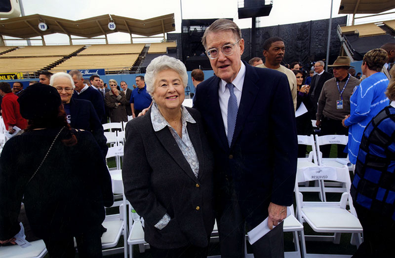 Former City Councilwoman Roz Wyman and former Dodgers owner Peter O'Malley at Dodger Stadium on May 2, 2012.