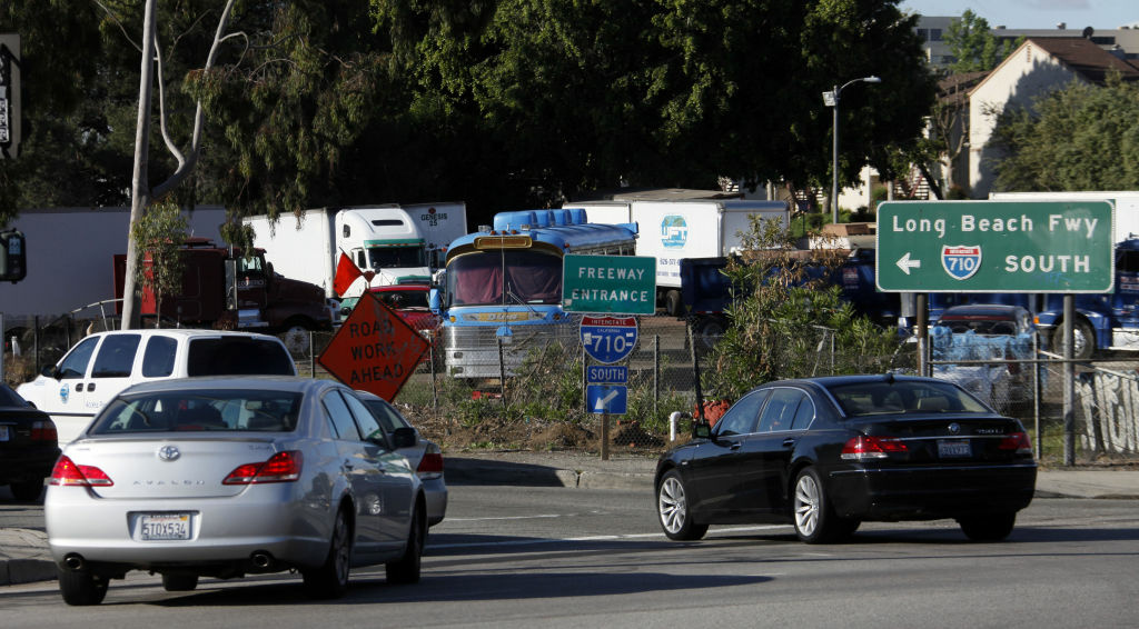 Early morning traffic jams the entrance to the 710 Freeway in Alhambra, Calif. The city council voted Tuesday night to unanimously oppose three proposed routes that would extend the freeway, but cut through three neighborhoods in the process.