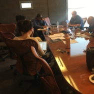 UC San Diego MFA candidates work with veterans in the playwriting workshop.