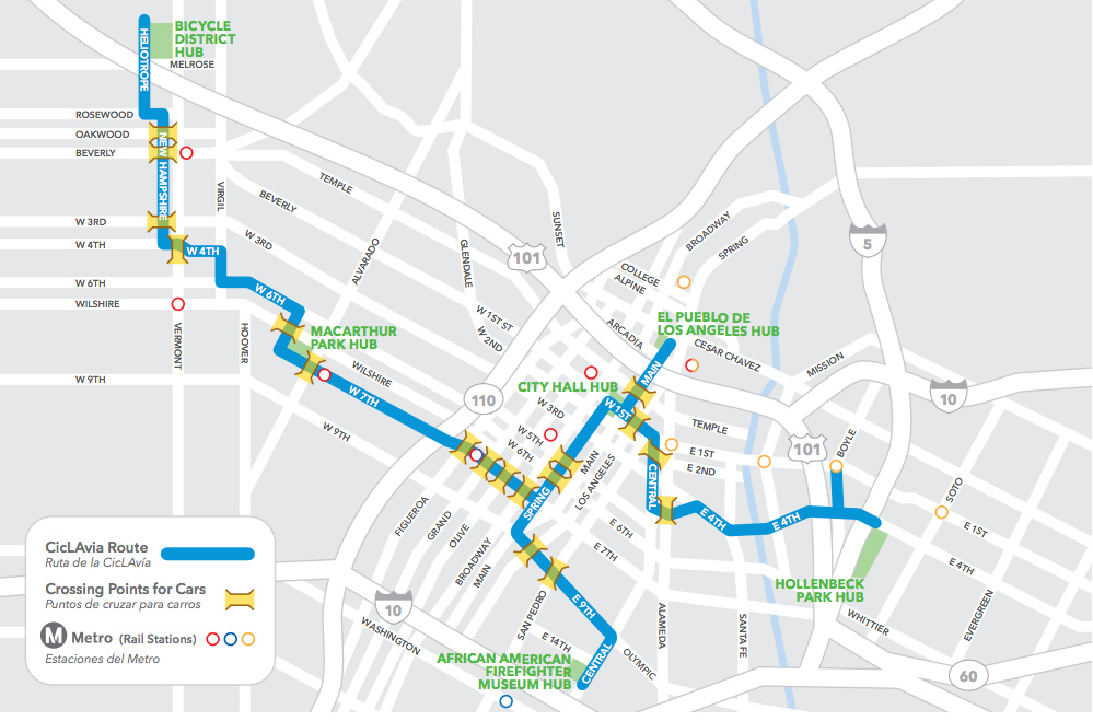 Map of roadways being used for 2012 CicLAvia event in downtown Los Angeles.