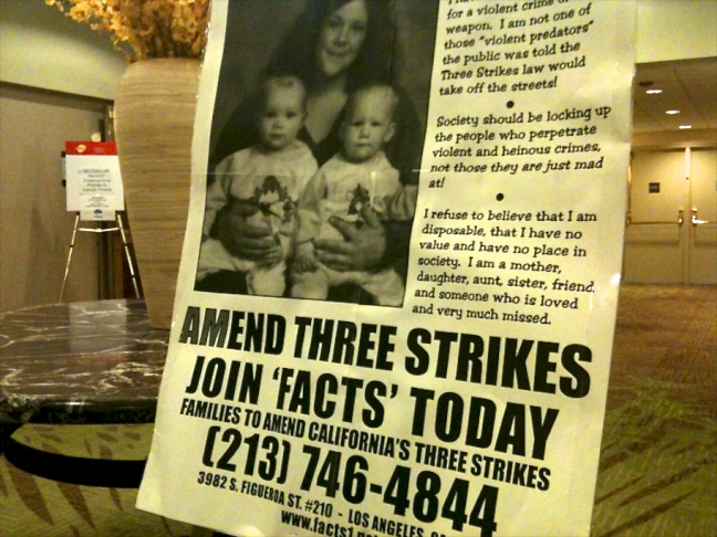 Families to Amend Three Strikes poster.