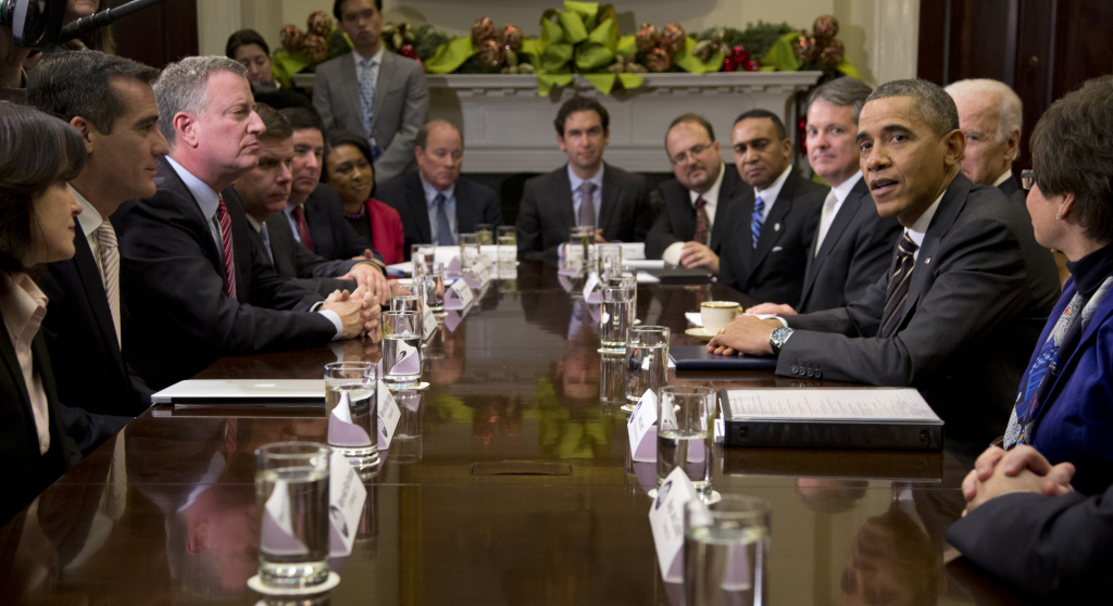 President Barack Obama met Friday at the White House with mayors from across the country, include LA's Eric Garcetti (second from left).