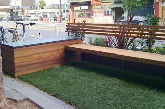Parklet at Freewheel Bike Shop on Valencia Street in San Francisco is an example of a mini-park