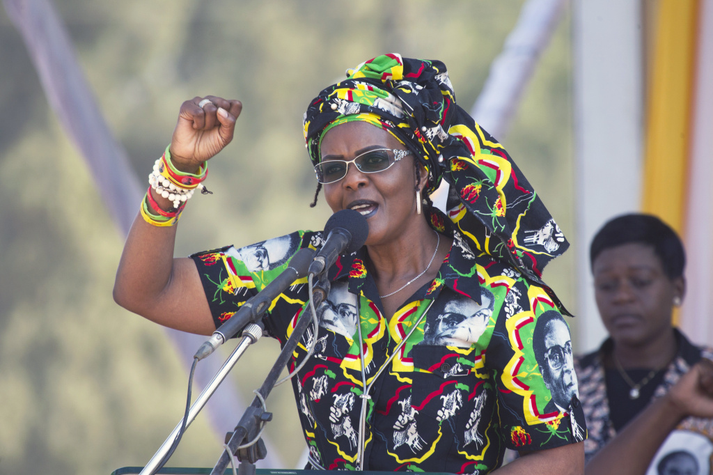 A South African court has overturned diplomatic immunity for former Zimbabwean first lady Grace Mugabe, shown here at a 2017 rally.