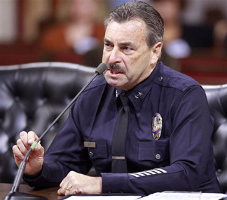 Los Angeles Police Deputy Chief Charlie Beck responds to questions from a Los Angeles City Council panel Monday Nov. 9, 2009, in Los Angeles. The panel recommended Monday that Beck be confirmed as Los Angeles' 55th chief of police. Beck, 56, a veteran for 33 years, is expected to succeed former LAPD Chief Bill Bratton.