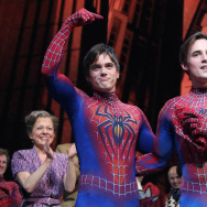 Reeve Carney (right) handed off the lead role in Spider-Man: Turn Off the Dark to successor Justin Matthew Sargent in September 2013. The show closes Jan. 4, and the Smithsonian Institution announced today that it's acquiring Carney's costume.