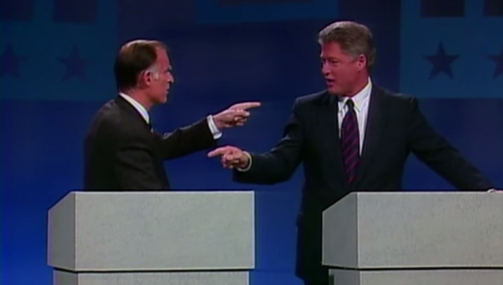 Screengrab from a Democratic primary debate in 1992. Jerry Brown (left) tussles with Bill Clinton (right).