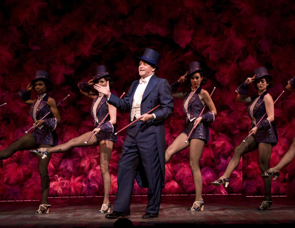 "Ron Raines (center) and the cast of the Kennedy Center production of ""Follies"" at the Center Theatre Group/Ahmanson Theatre."