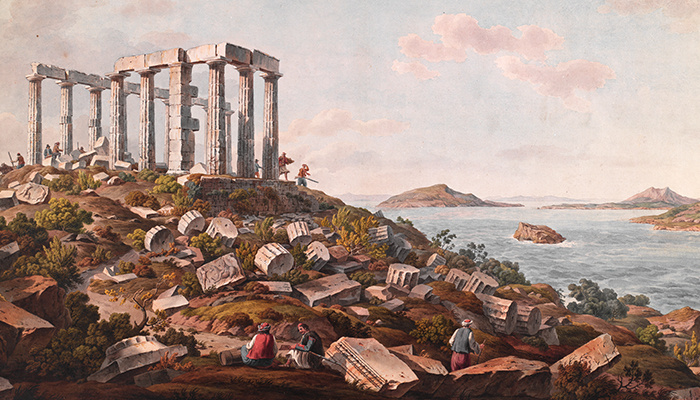 Temple of Poseidon, Sounion (detail), after 1805. Simone Pomardi (Italian, 1757–1830). Watercolor.