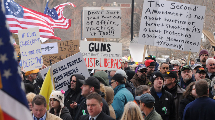 Hundreds of gun owners and enthusiasts attend a rally at the Connecticut Capitol in Hartford on Jan. 19.