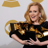 Singer Adele poses in the press room at the 54th Annual GRAMMY Awards at Staples Center on February 12, 2012 in Los Angeles, California.