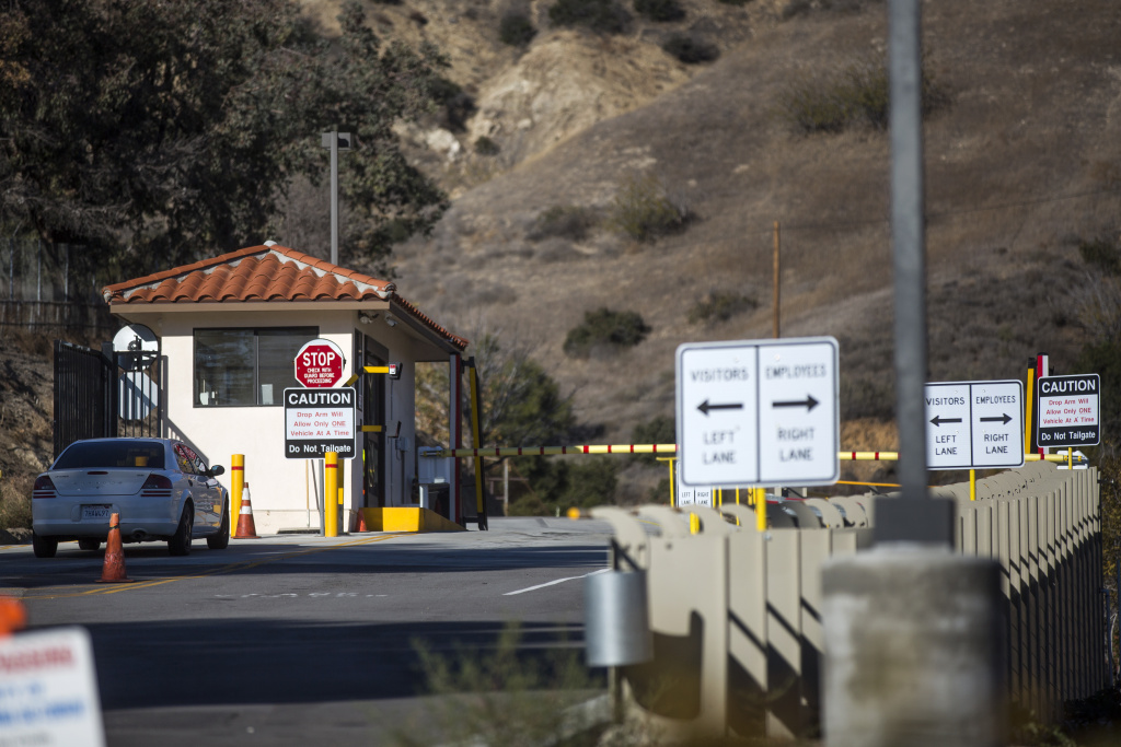 State lawmakers gathered at the entrance to the Aliso Canyon Storage Facility to announce a package of proposals Monday, Jan. 11, 2016.  Natural gas has been spewing from a ruptured well at this gas storage field near Porter Ranch since Oct. 23.