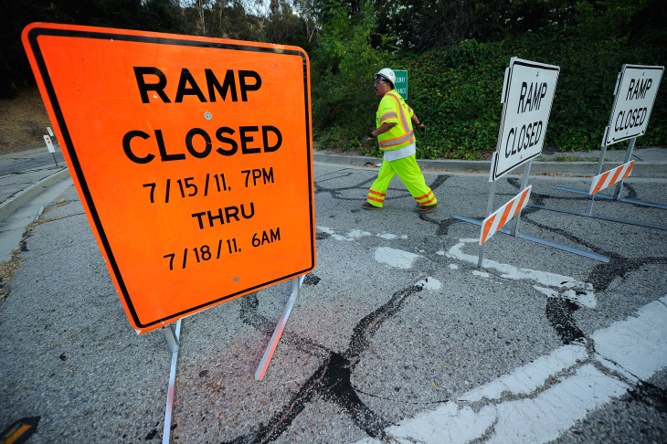Los Angeles Freeway Clears Out Ahead Of Major Repairs