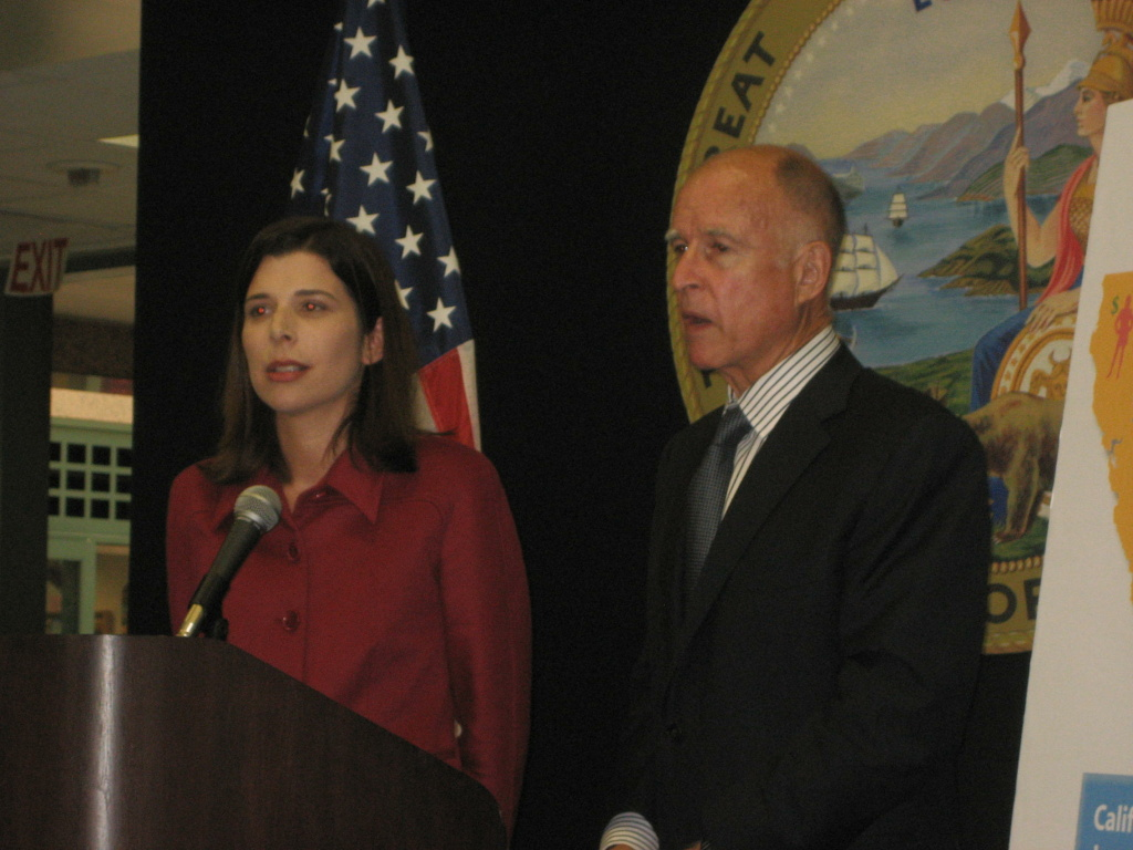 California Attorney General Jerry Brown and Deputy Attorney General Alexandra Robert Gordon.