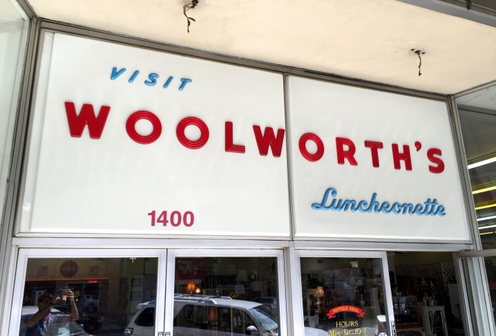 Bakersfield, California's Woolworth's close in 1994. Immediately, an antique mall moved in, preserving the building down to the plastic sign outside. And the luncheonette is still serving!
