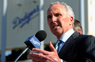 Los Angeles Dodgers owner Frank McCourt at a news conference at Dodger Stadium.