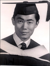 George Takei in 1960, when he received his Bachelor of Arts in theater arts from UCLA. He did voice work in Rodan and Godzilla Raids Again several years earlier.