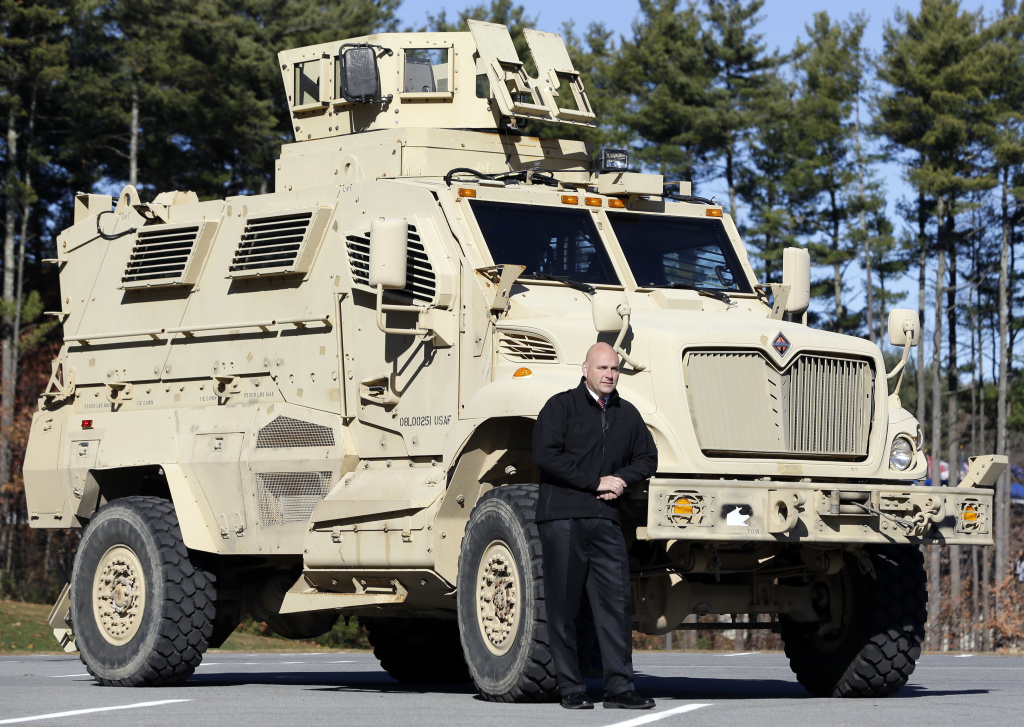 A mine resistant ambush protected vehicle, or MRAP, originally created for the military, displayed in 2013 by a sheriff's department official in Warren County, N.Y.