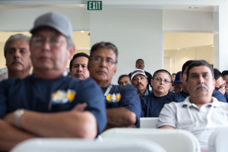 Community members attend a meeting at the Huntington Park Community Center about air pollution from Exide Technologies in Vernon, Calif. on May 30th, 2013.