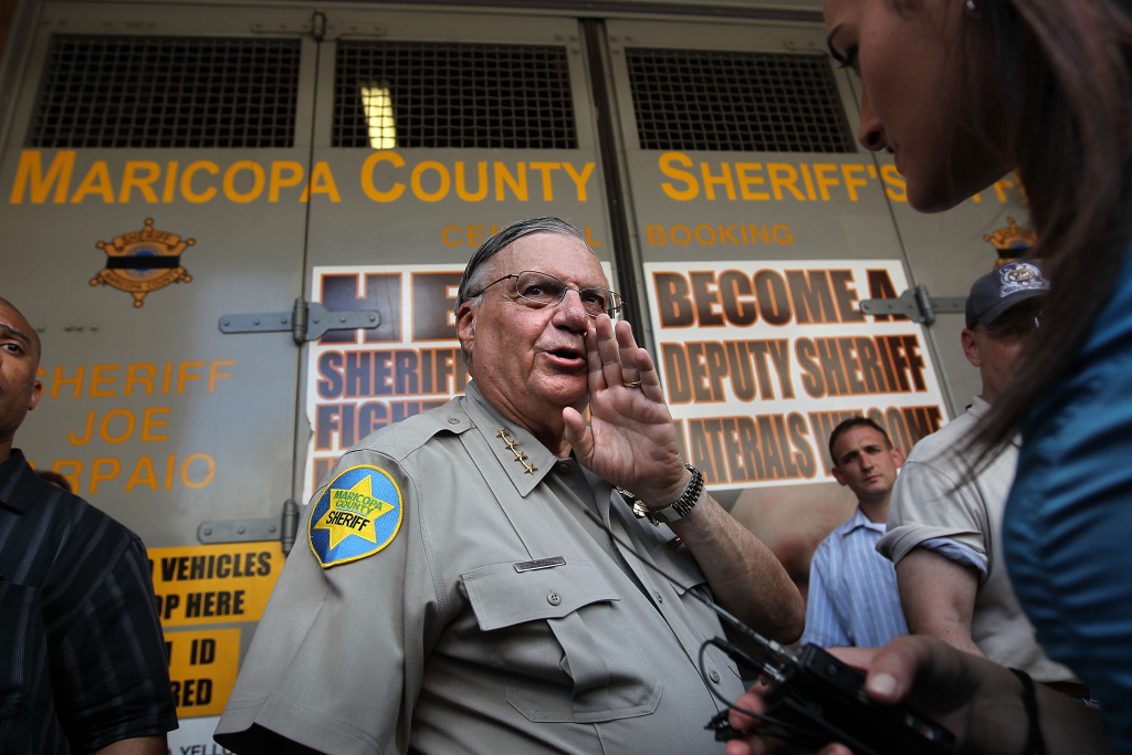 PHOENIX - JULY 29:  Maricopa County Sheriff Joe Arpaio speaks to the media in front of his county jail on July 29, 2010 in Phoenix, Arizona, the day Arizona's immigration enforcement law SB 1070 went into effect. Although U.S. District Court Judge Susan Bolton suspended several controversial provisions of the law the previous day, Arpaio said he did not need the law in order to detain undocumented immigrants during his planned crime sweep in Phoenix.  (Photo by John Moore/Getty Images) *** Local Caption *** Joe Arpaio