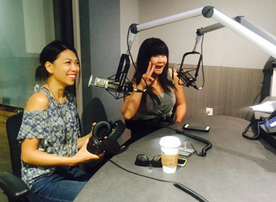 Comedians Tess Paras and Jenny Yang do a quick sound check before chatting about the Comedy Comedy Festival.