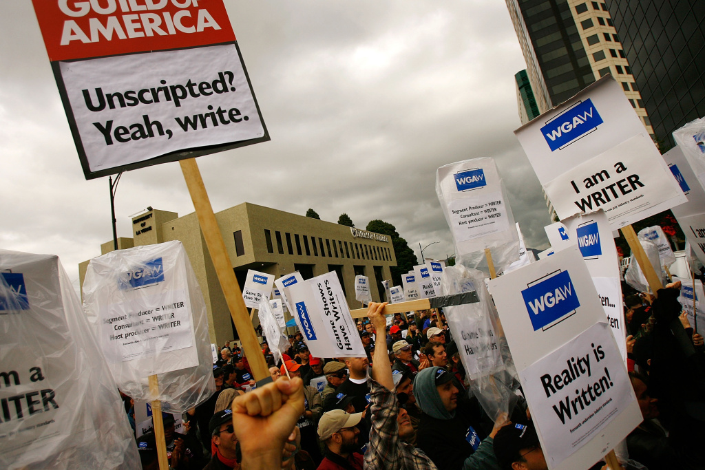 Members of the Writers Guild of America (WGA) call attention to conditions for writers working on game shows and so-called reality television programming December 7, 2007 in Los Angeles, California.