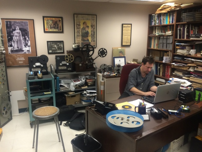 Dino Everett, the Hugh M. Hefner Moving Image Archive Archivist at the University of Southern California School of Cinematic Arts, in his office.