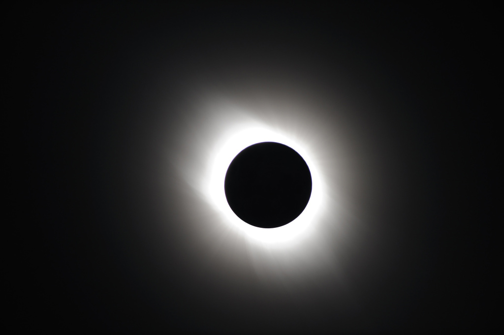 Total solar eclipse documented on July 22, 2009 near Iwojima Island, Tokyo, Japan.